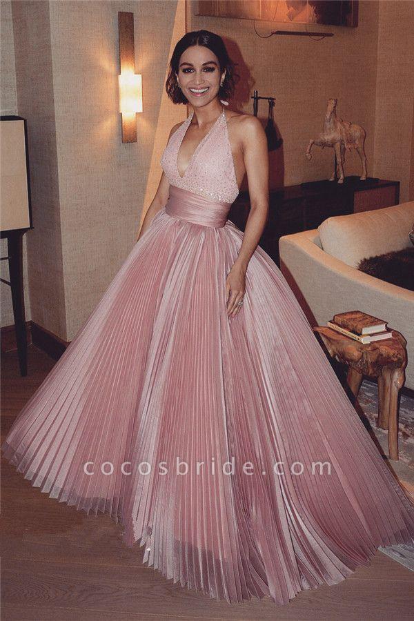 Sequined V-neck Halter Ball Gowns|Glamorous Formal Dresses