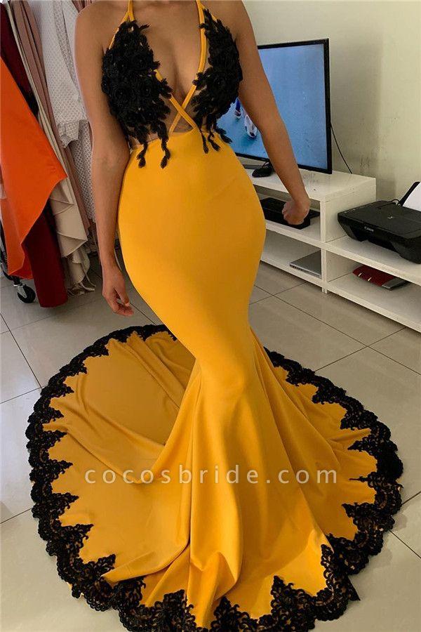 Wonderful V-neck Appliques Mermaid Evening Dress