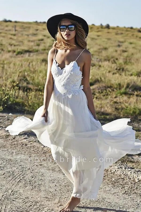 Spaghetti Strap Appliques Chiffon Wedding Dress