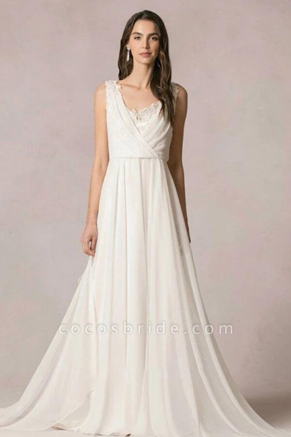 Open Back Ruffle Lace Chiffon A-line Wedding Dress