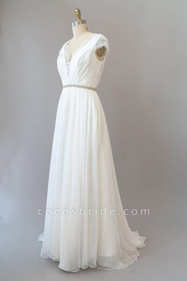 Cap Sleeve V-neck Lace Chiffon Sheath Wedding Dress