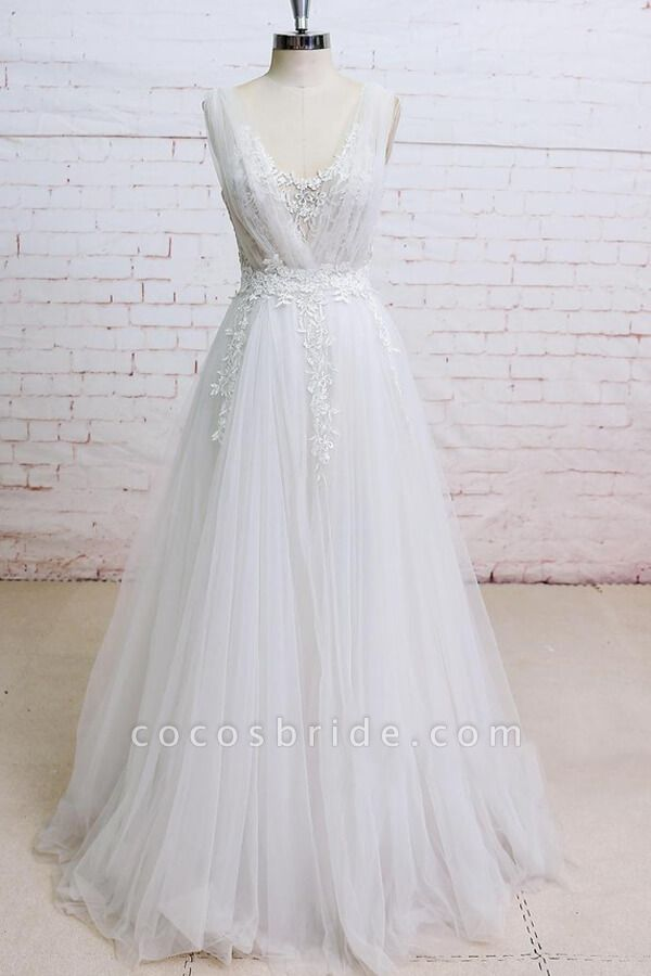 Appliques Tulle Ruffle A-line Wedding Dress