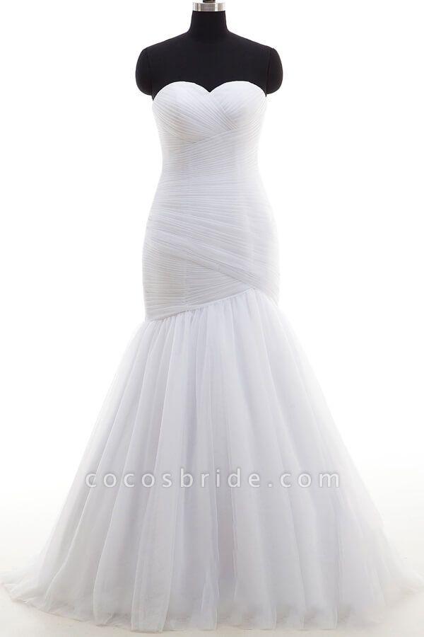 Strapless Ruffle Tulle Mermaid Wedding Dress