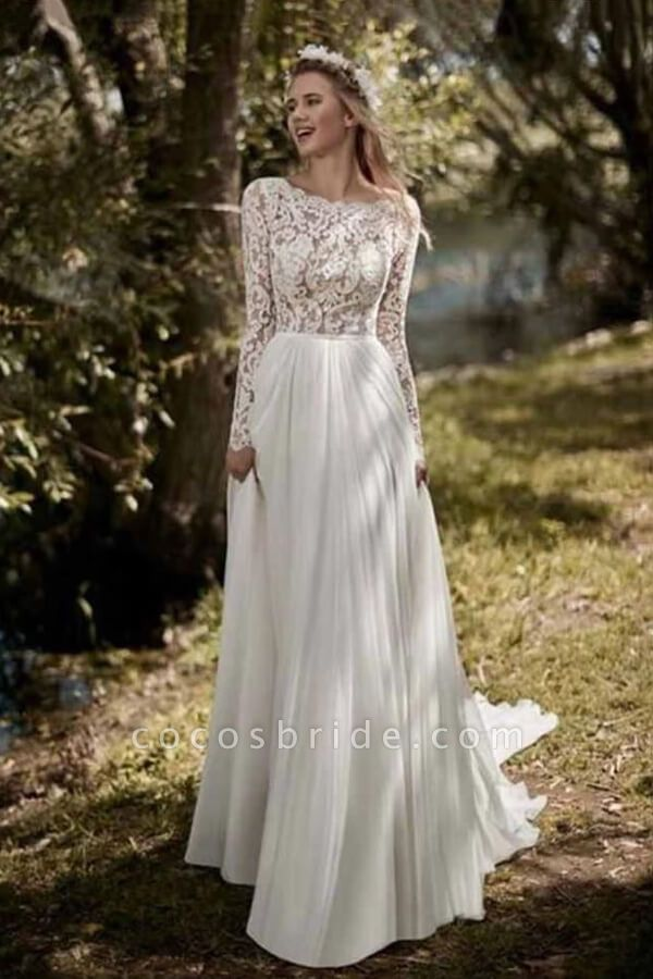Open Back Long Sleeve Lace Chiffon Wedding Dress