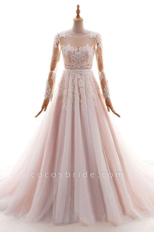 Long Sleeve Appliques Tulle A-line Wedding Dress