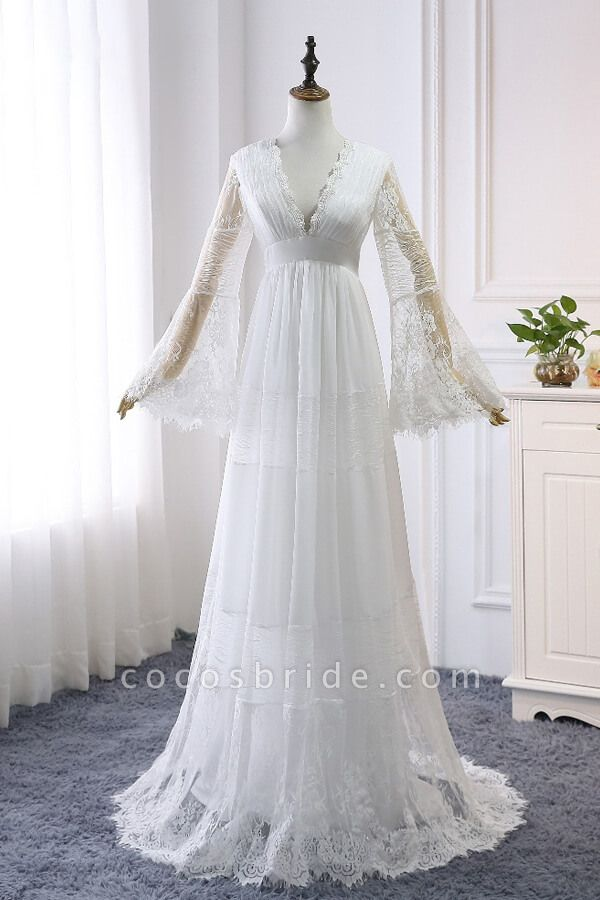 Empire Waist Long Sleeve Lace Tulle Wedding Dress