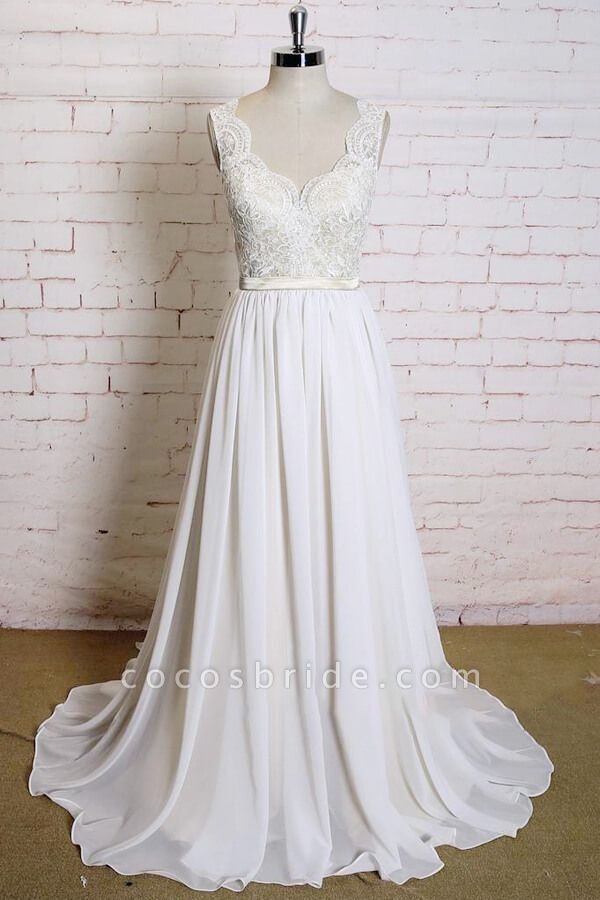 Latest V-neck Lace Chiffon A-line Wedding Dress