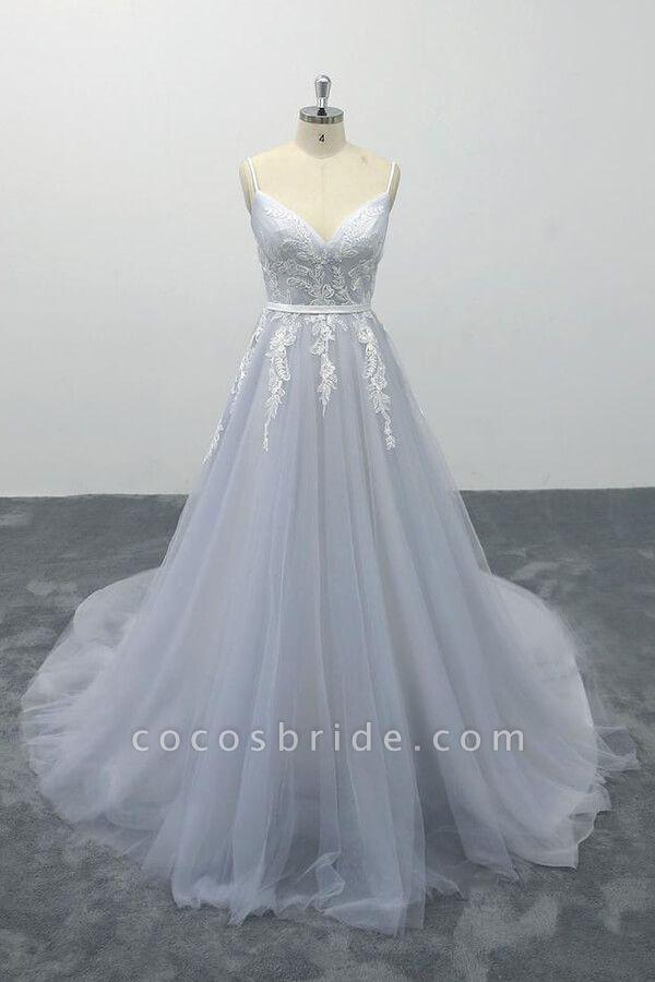 Applique Tulle Spaghetti Strap A-line Wedding Dress