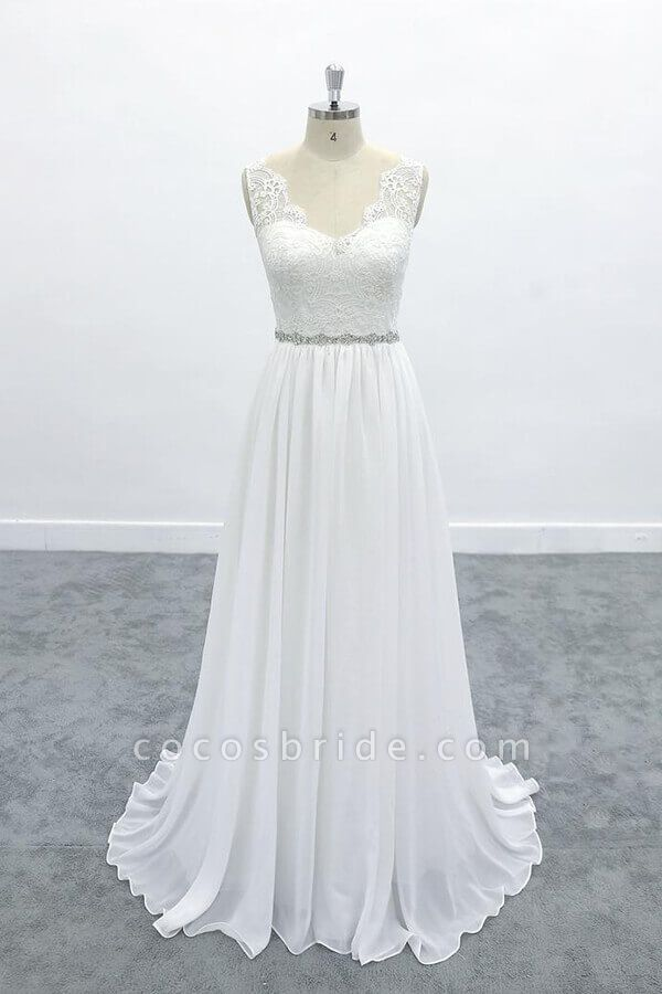 Awesome V-neck A-line Lace Chiffon Wedding Dress