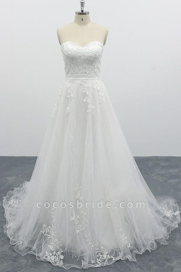 Strapless Tulle Chapel Train A-line Wedding Dress