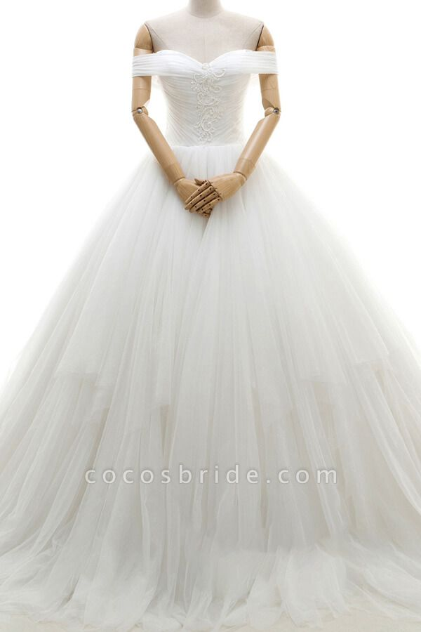 Lace-up Off Shoulder Ruffle Tulle Wedding Dress