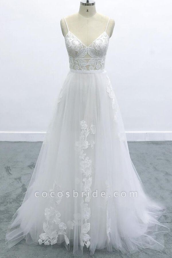 Best Spaghetti Strap Appliques Tulle Wedding Dress