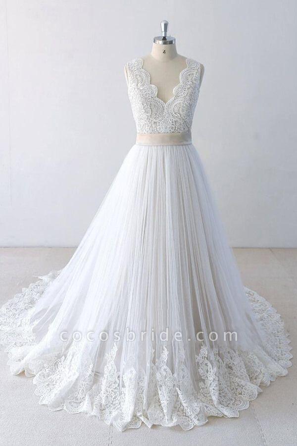 Elegant V-neck Lace Tulle A-line Wedding Dress