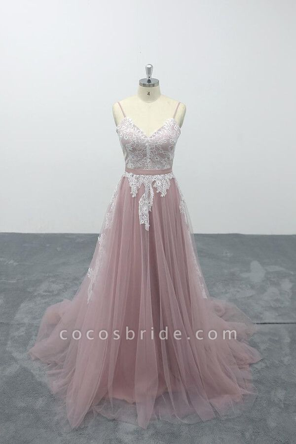 Lace Tulle Spaghetti Strap A-line Wedding Dress