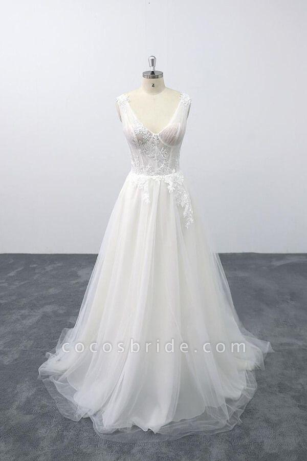 Lace-up V-neck Appliques Tulle A-line Wedding Dress