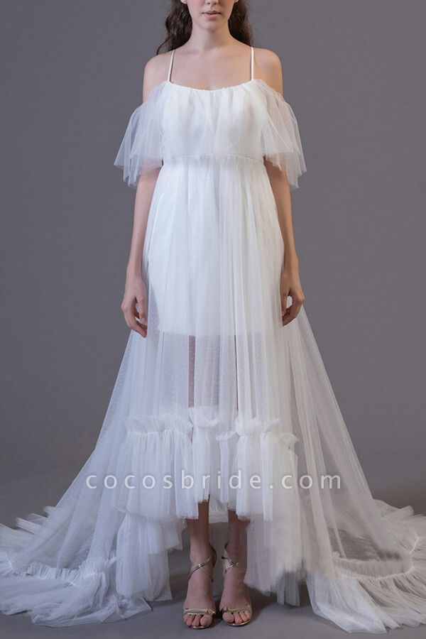 Awesome Cold-shoulder Tulle High-low Wedding Dress