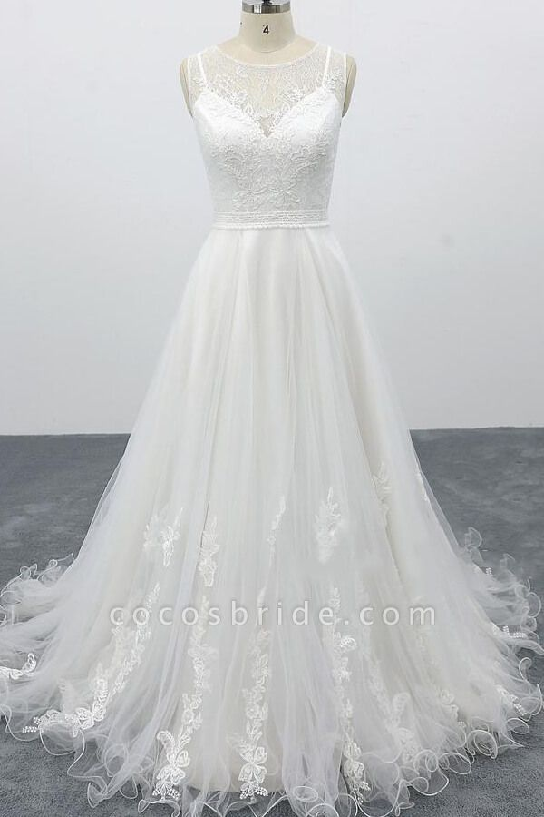 Graceful Appliques Tulle A-line Wedding Dress