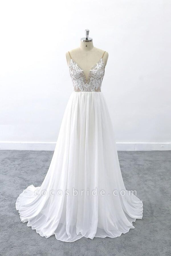 Graceful V-neck Lace Chiffon A-line Wedding Dress
