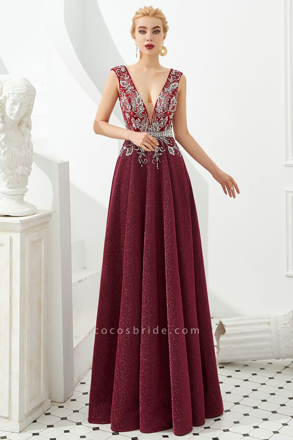 Marvelous V-neck Sequined A-line Prom Dress