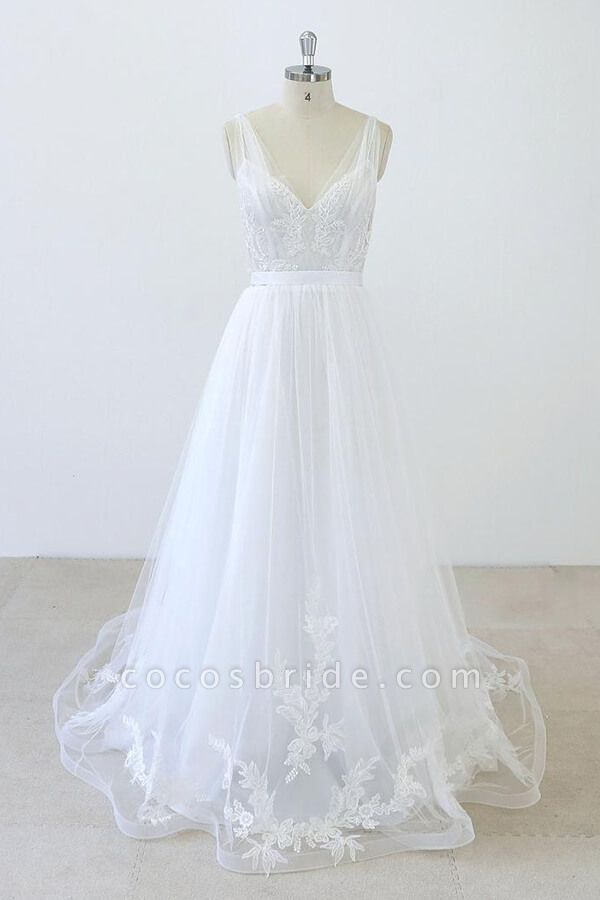 V-neck Ruffle Applqiues Tulle A-line Wedding Dress