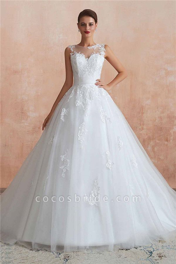 Amazing Illusion Appliques Tulle Wedding Dress