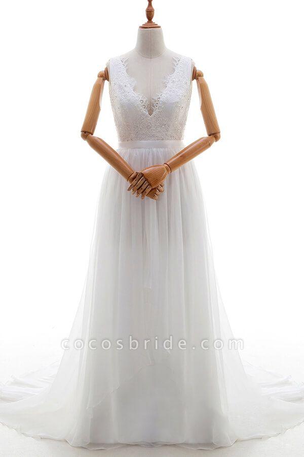 Awesome V-neck Lace Chiffon A-line Wedding Dress