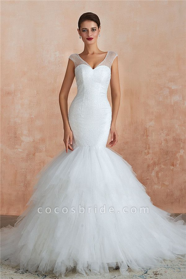 Graceful Sequin Lace-up Mermaid Tulle Wedding Dress