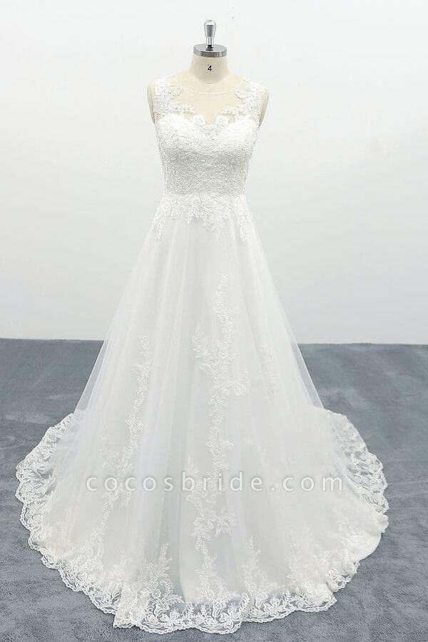 Elegant Appliques Tulle A-line Wedding Dress