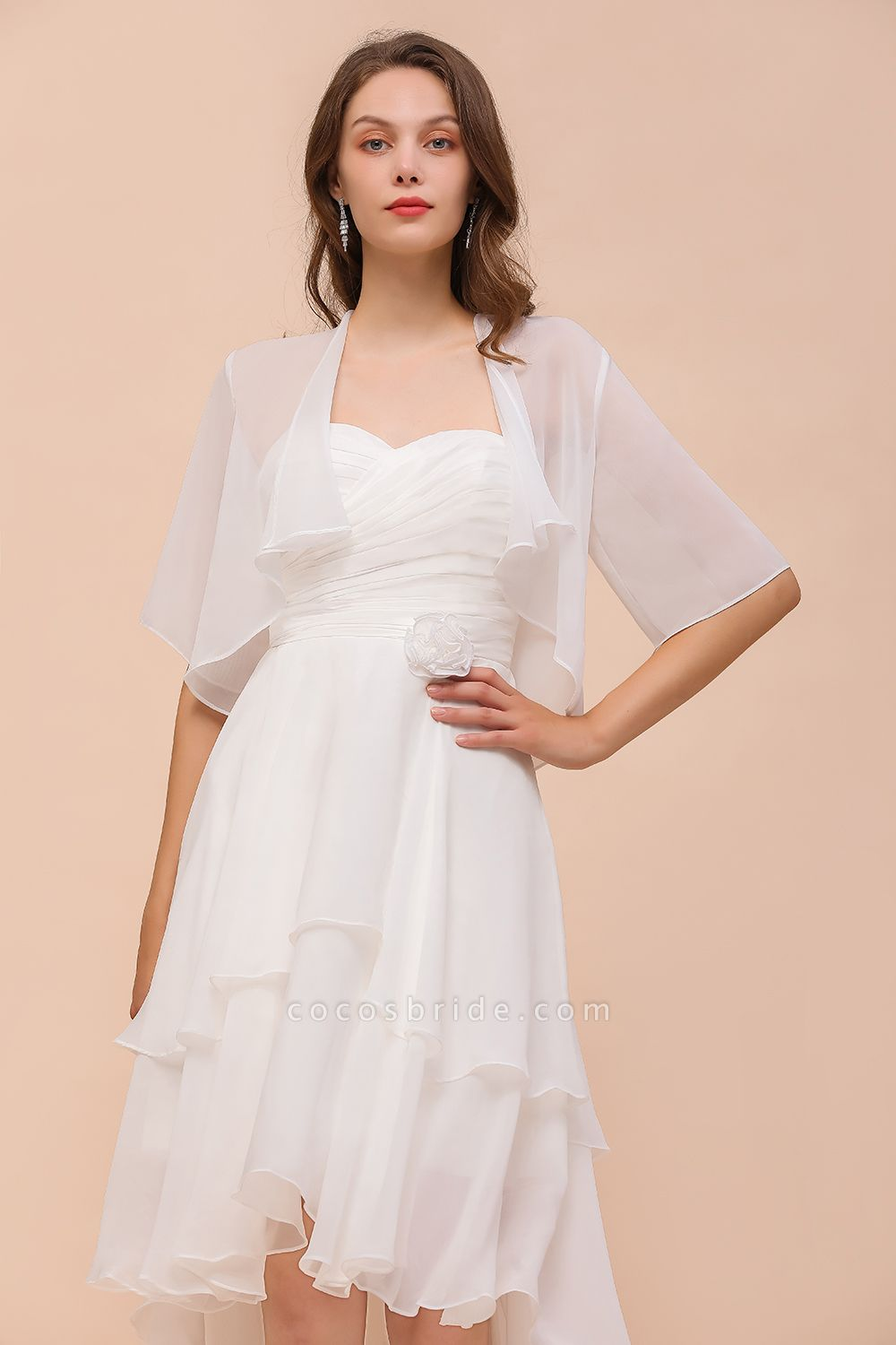 BM1061 White Short Sleeves Chiffon Special Occasions Wraps