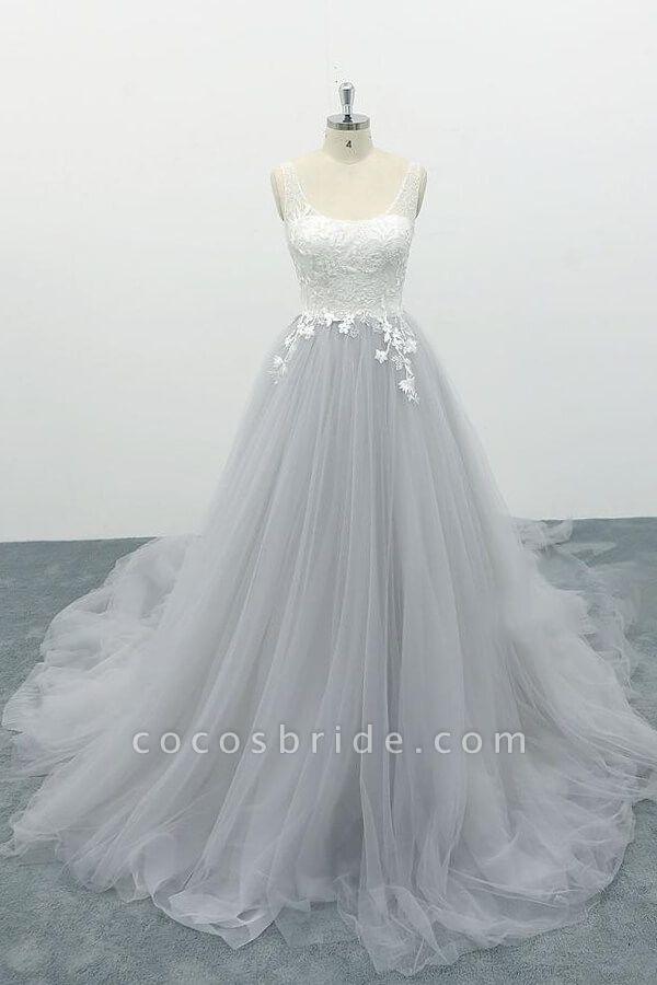 Square Neck Appliques Tulle A-line Wedding Dress
