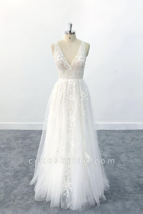 Elegant V-neck Appliques Tulle A-line Wedding Dress
