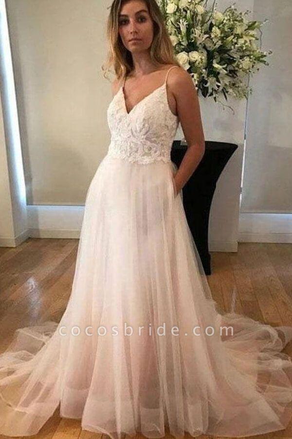 Applique Spaghetti Strap Tulle A-line Wedding Dress