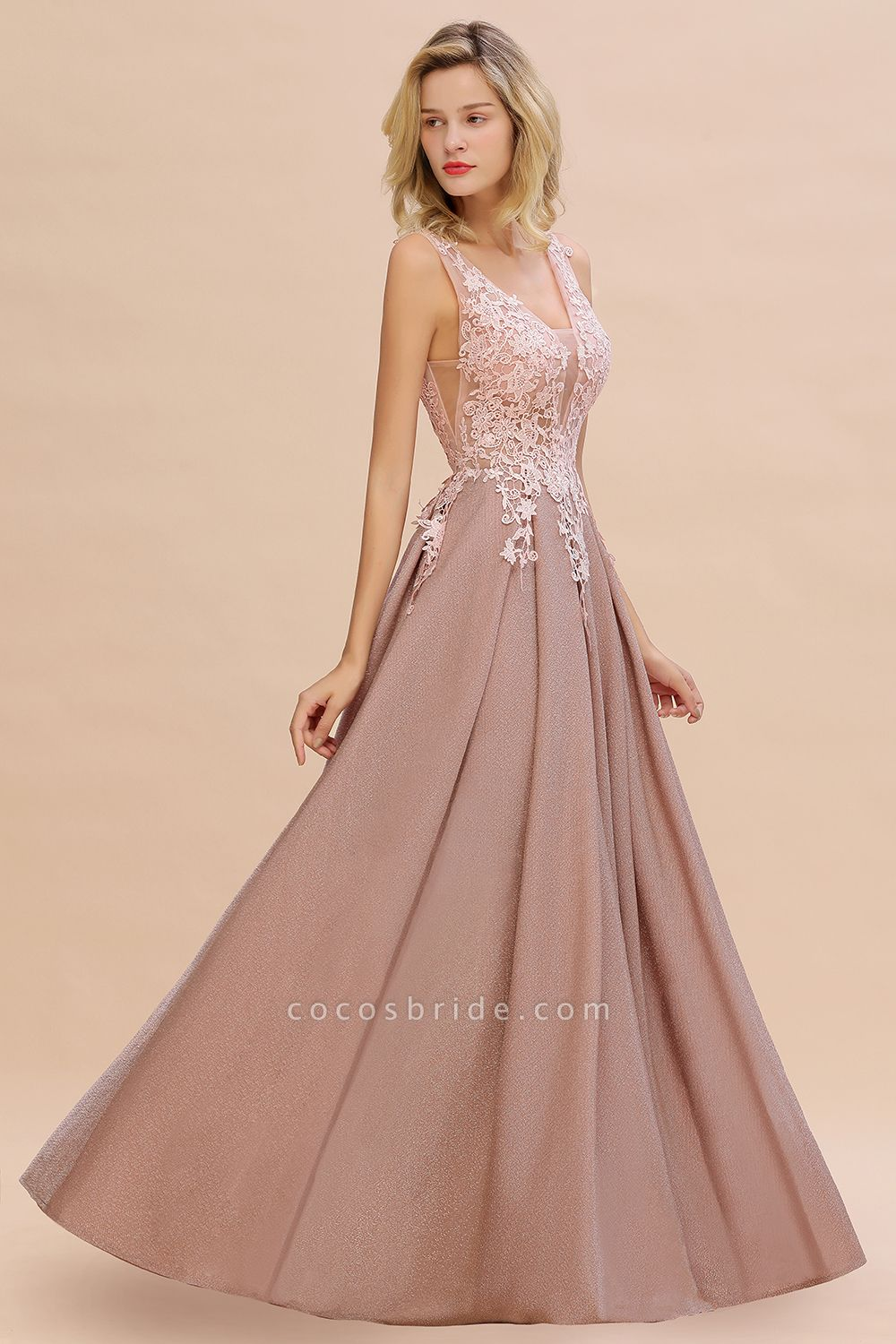 Attractive V-neck Lace A-line Evening Dress