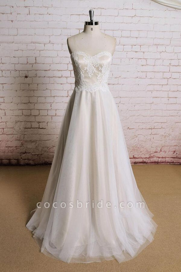 Awesome Strapless Lace Tulle A-line Wedding Dress