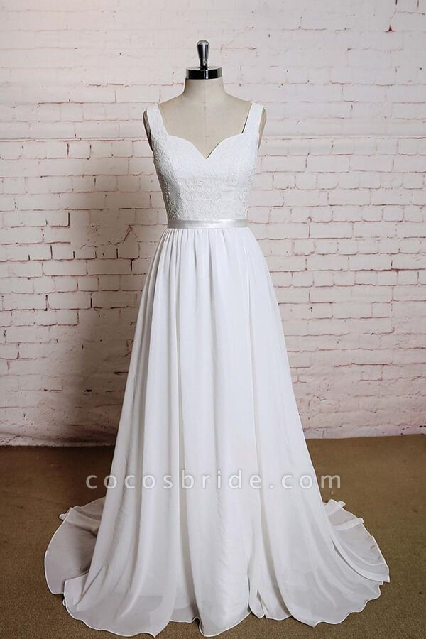 Square Neck Lace Chiffon A-line Wedding Dress