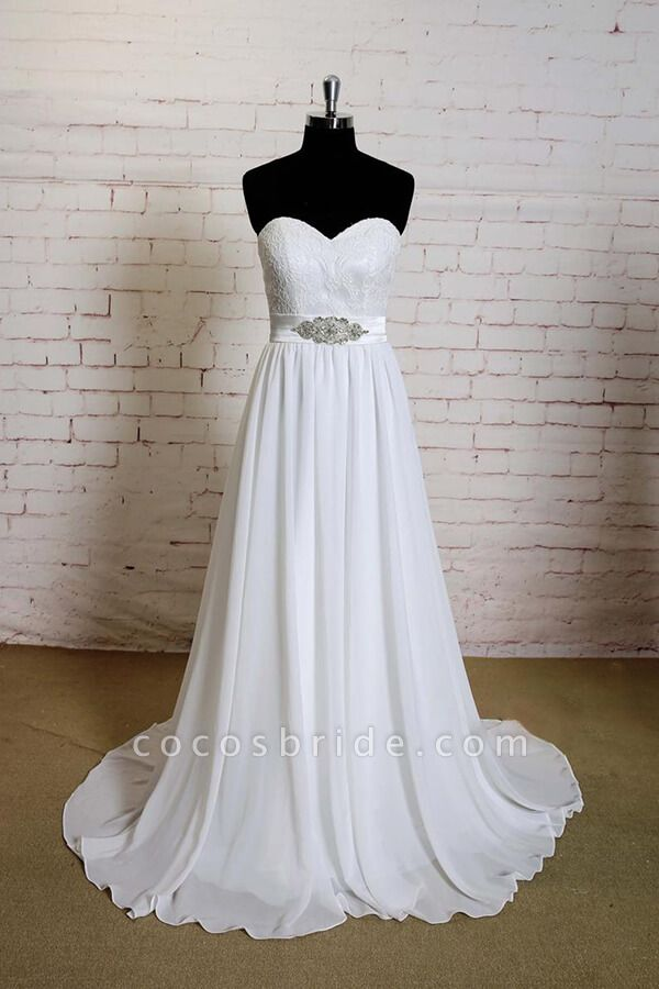 Strapless Lace Chiffon A-line Wedding Dress