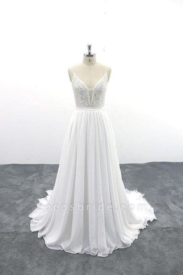 Spaghetti Strap Lace Chiffon A-line Wedding Dress