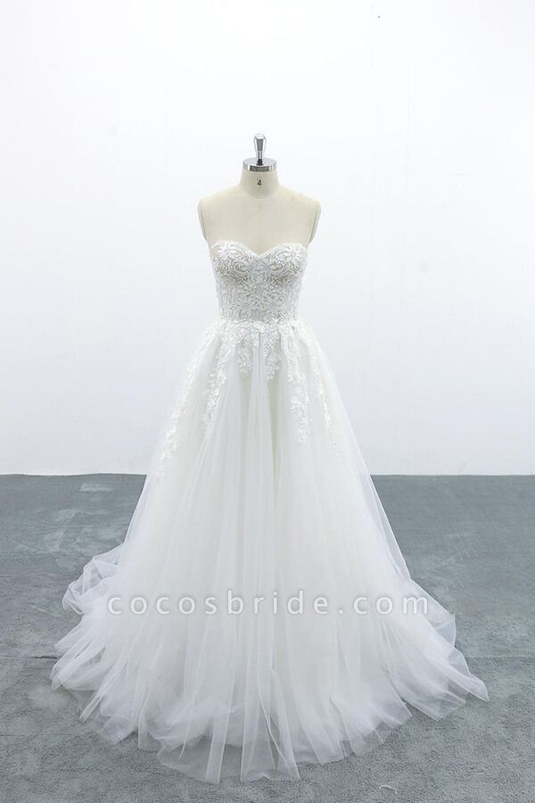 Appliques Strapless Tulle A-line Wedding Dress