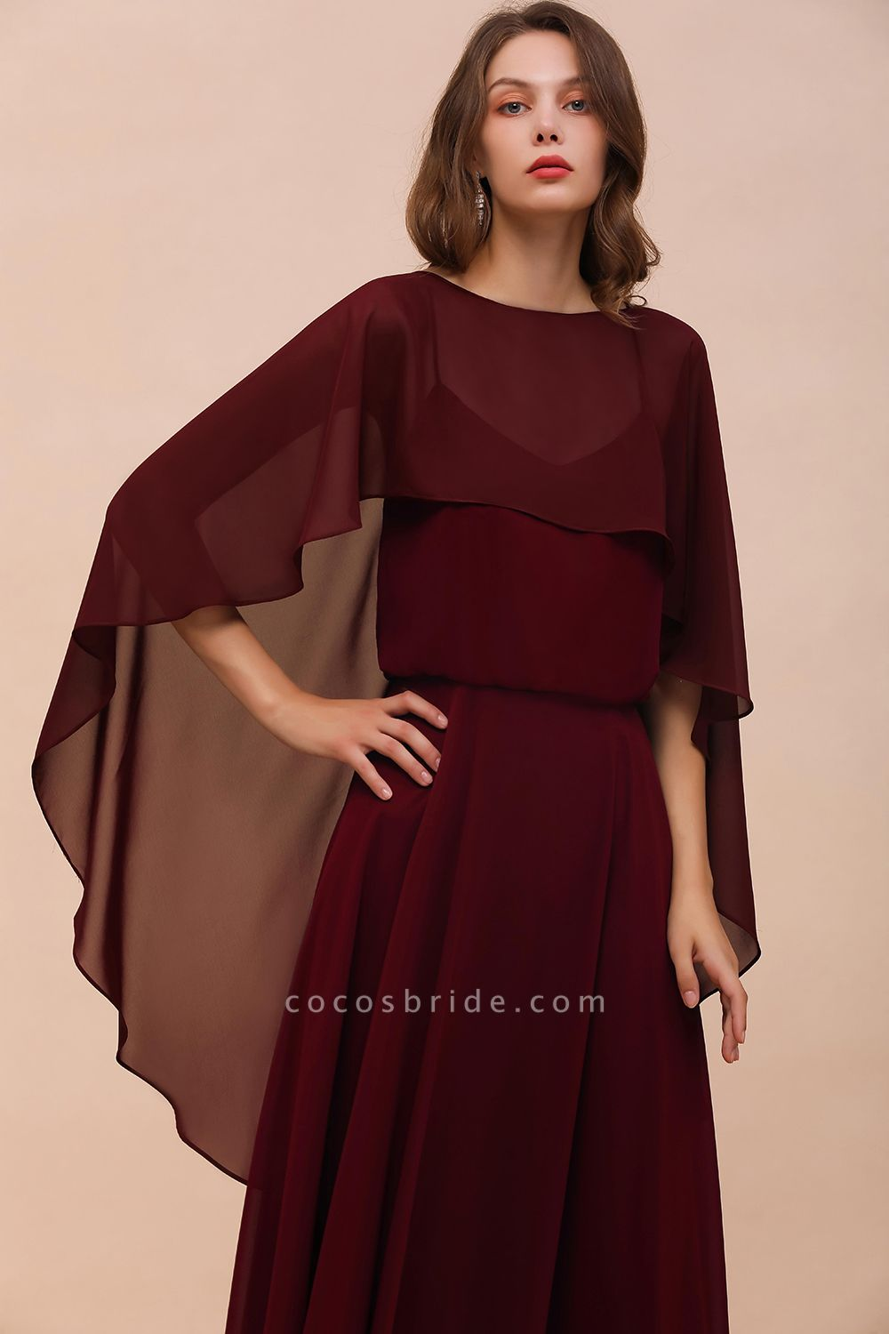 BM1087 Chiffon Burgundy Long Special Occasions Wrap