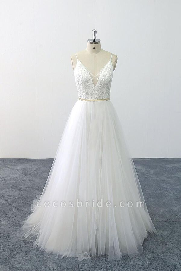 Chic Spaghetti Strap Appliques Tulle Wedding Dress