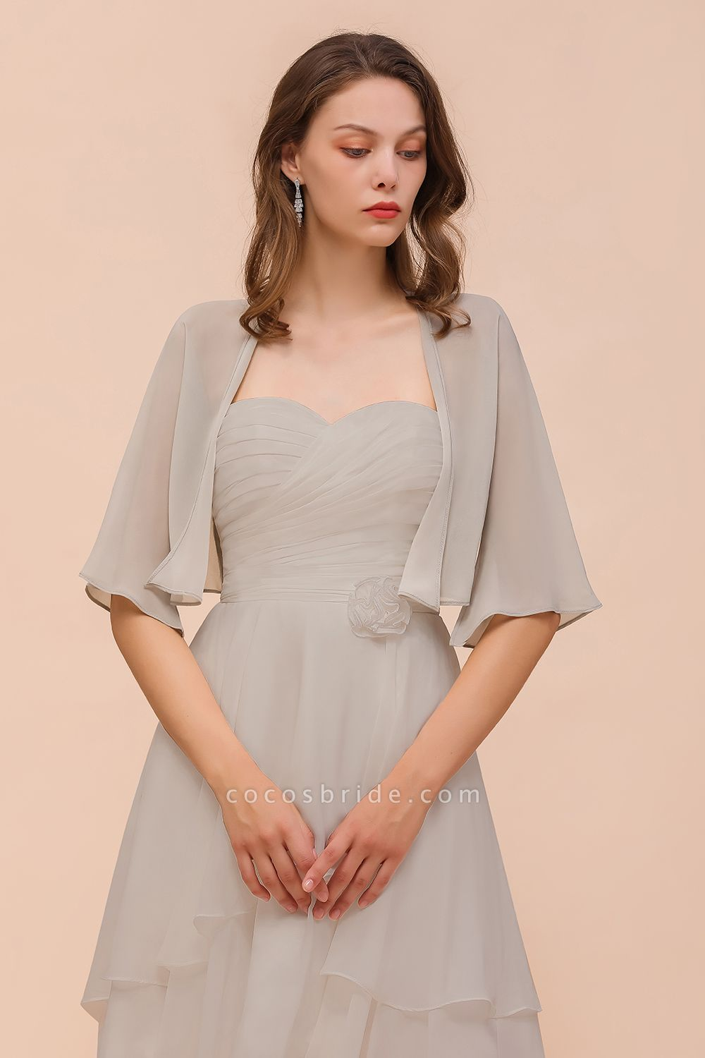 BM1083 Silver Half Sleeves Chiffon Special Occasions Wraps