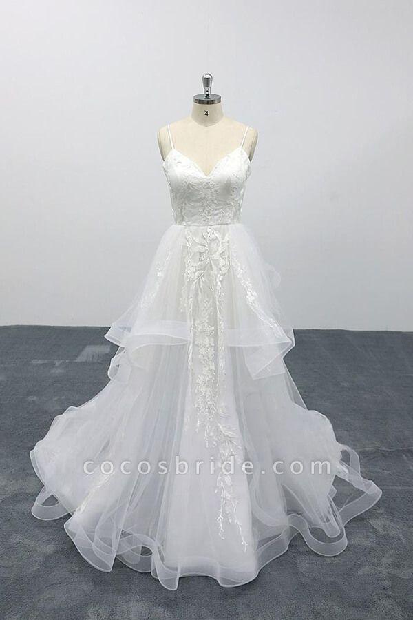 Best Appliques Spaghetti Strap Tulle Wedding Dress