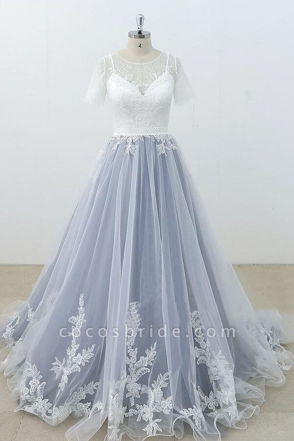 Short Sleeve Appliques Tulle A-line Wedding Dress