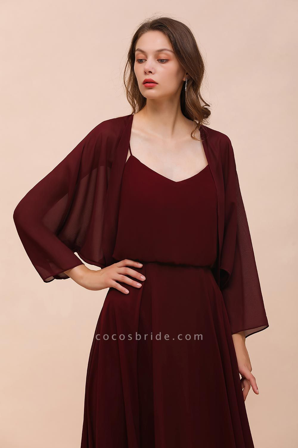 BM1088 Burgundy Long Sleeves Chiffon Special Occasions Wrap
