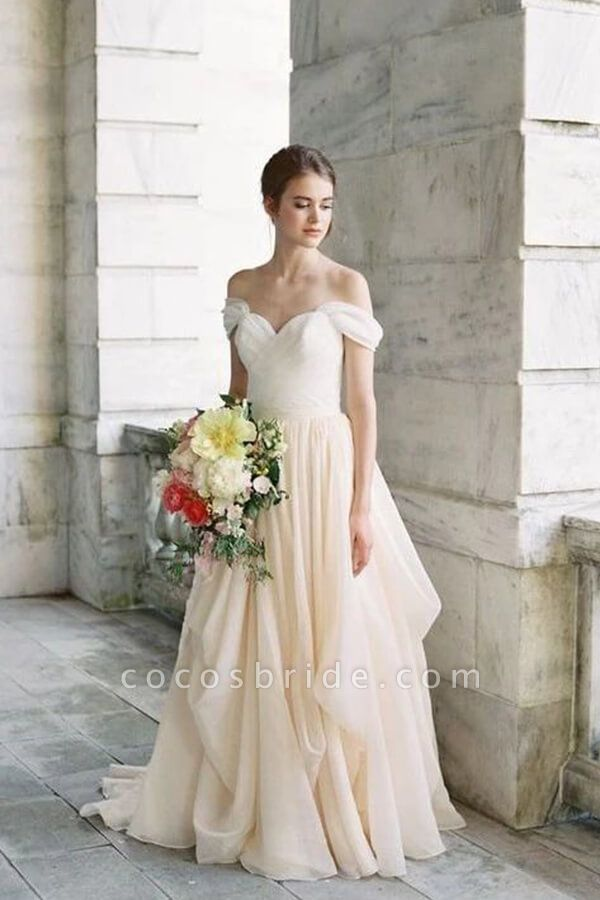 Ruffle Chiffon A-line Off Shoulder Wedding Dress