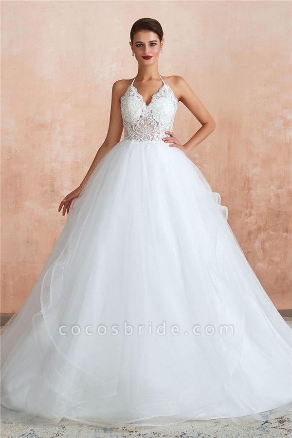 Halter Open Back Appliques Tulle Wedding Dress