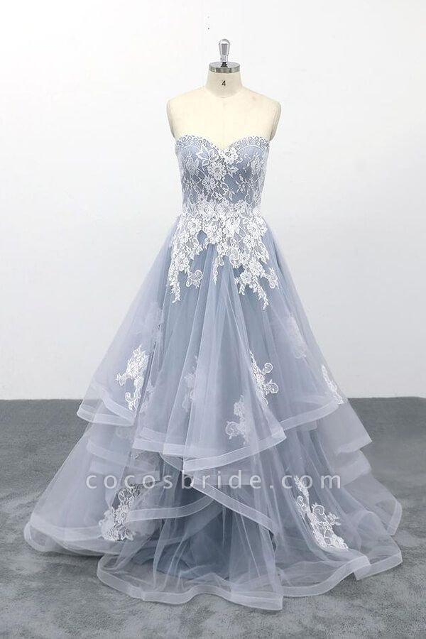 Amazing Strapless Lace Tulle A-line Wedding Dress