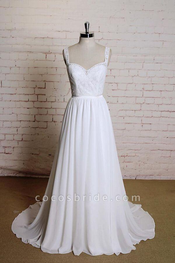 Sweetheart Lace Chiffon A-line Wedding Dress