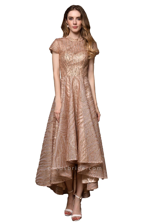 High neck Champange Short Sleeve Sequined Prom Dress