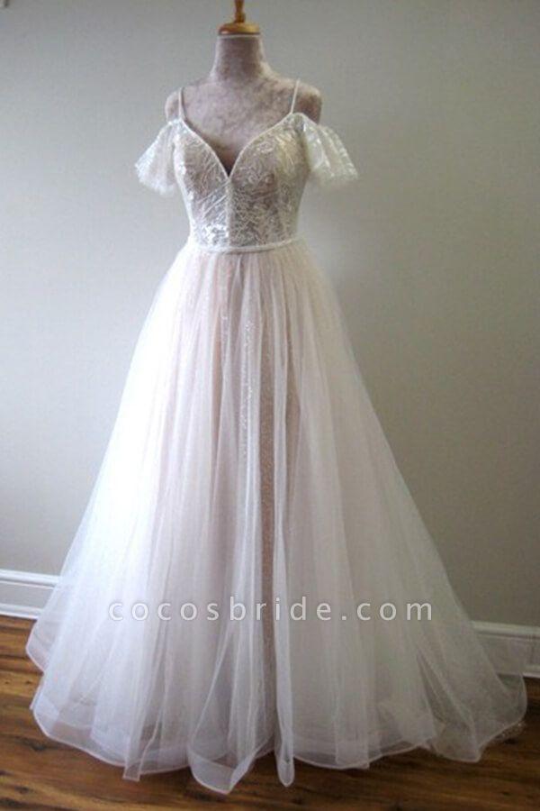 Glorious Cold-shoulder Chapel Train Wedding Dress